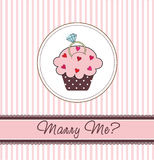 Cupcake card with a ring Stock Image