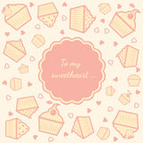 Cupcake card. Tender greeting card with cupcakes and text Royalty Free Stock Image