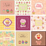 Cupcake Cards Collection Stock Photography