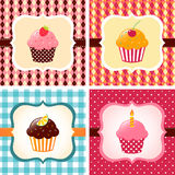 Cupcake cards set Royalty Free Stock Images