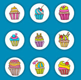 Cupcake cartoon doodle icon set. Cute elements for birthday or party decoration, greeting card, advertisement, banner, flyer, brochure. Hand drawn vector stock illustration