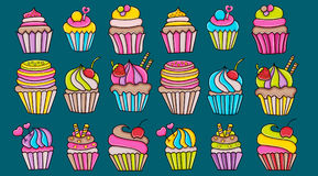 Cupcake cartoon doodle icon set. Cute elements for birthday or party decoration, greeting card, advertisement, banner, flyer, brochure. Hand drawn vector royalty free illustration