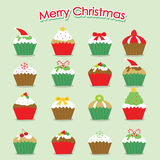 Cupcake Cartoon Merry Christmas Vector Royalty Free Stock Image