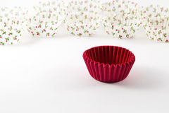 Cupcake case on white background. Empty cupcake case on white background Royalty Free Stock Photos