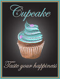 Cupcake on chalkboard background, vector, illustration, hand dra Royalty Free Stock Image