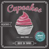 Cupcake chalkboard poster Stock Image