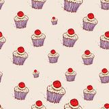 Cupcake with cherries and cream Hand drawn sketch on pink background. seamless pattern vector Stock Photo