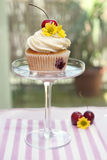 Cupcake with Cherries and Flower Royalty Free Stock Photo