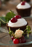Cupcake with cherries Royalty Free Stock Photos