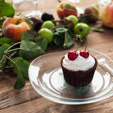 Cupcake with cherries Royalty Free Stock Images