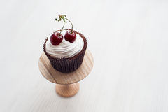Cupcake with cherries Stock Photography