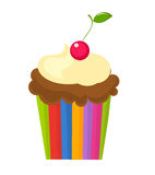 Cupcake with cherry. Chocolate cupcake with cream and cherry on the top. Vector illustration Stock Photos
