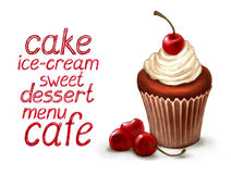 Cupcake with cherry Stock Photography