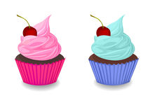 Cupcake with cherry Royalty Free Stock Photography