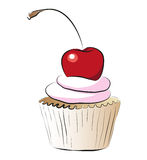 Cupcake with cherry Stock Images