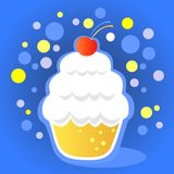 Cupcake with cherry vector illustration