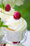 Cupcake with a cherry Royalty Free Stock Images