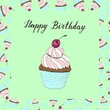 Cupcake with a cherry birthday card on green background vector illustration