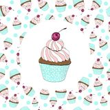 Cupcake with a cherry birthday card royalty free illustration