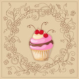 Cupcake with cherry on the boho background Royalty Free Stock Photo