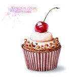 Cupcake with cherry and chocolate chips. Stock Photos