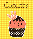 Cupcake Cherry and Chocolate Vector Stock Photos