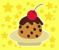Cupcake Cherry and Chocolate Vector Stock Images