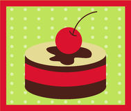 Cupcake Cherry and Chocolate Vector Royalty Free Stock Image
