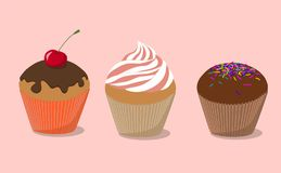 Cupcake with cherry, cupcake with cream, cupcake with chocolate vector illustration