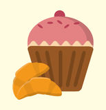 Cupcake cherry and croissant bakery and dessert Royalty Free Stock Image