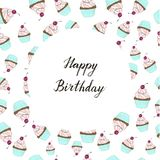Cupcake with a cherry happy birthday card vector illustration