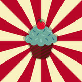 Cupcake with cherry on retro style circle ray background. Vector illustration Royalty Free Stock Photo