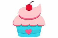 Cupcake with cherry. Vector illustration of Cupcake with cherry Stock Photos