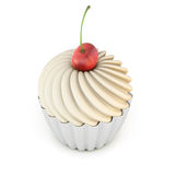 Cupcake with cherry  on a white Stock Image