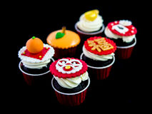 Cupcake in chinese theme Royalty Free Stock Images