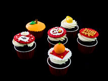 Cupcake in chinese theme. Six of cupcakes in chinese theme Royalty Free Stock Image