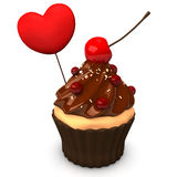 Cupcake Choco Heart Royalty Free Stock Images