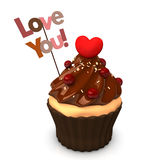 Cupcake Choco Heart Love You Stock Photos