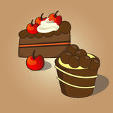 Cupcake and Chocolate cake topping with cherries Royalty Free Stock Photo