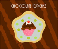Cupcake chocolate card Royalty Free Stock Image