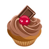 Cupcake with chocolate cream and cherry. Stock Photography