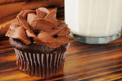 Chocoloate cupcake and milk Stock Image