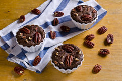 Cupcake chocolate with nuts. In a ceramic mold. Selective focus royalty free stock photography