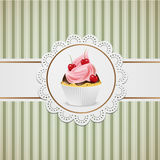Cupcake with chocolate and pink cream Royalty Free Stock Photos