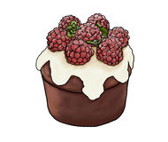 Cupcake. Chocolate cupcake with raspberries and mint Royalty Free Stock Images