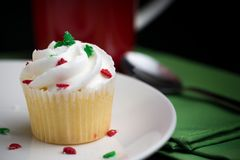 A cupcake for Christmas Stock Images