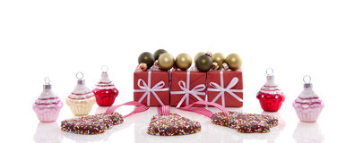 Cupcake christmas balls with gifts Stock Photography