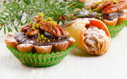 Cupcake with Christmas decoration  on a wooden table. Stock Image