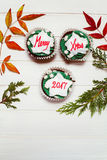 Cupcake with christmas massage royalty free stock photo