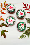 Cupcake with christmas massage royalty free stock photos